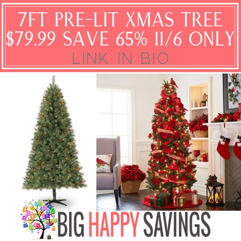 7FT Pre-Lit Christmas Tree Save 65%